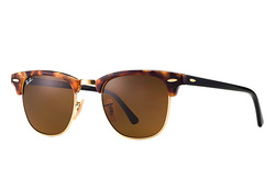 Ray Ban Unisex Clubmaster Fleck Sunglasses - Havana Gold/Brown