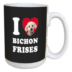 Tree Free Greetings LM45011 I Heart Bichon Frises Ceramic Mug with Full-Sized Handle, 15-Ounce