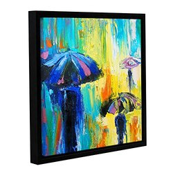 """ArtWall 18""""x18"""" Susi Franco's Turquoise Rain Gallery Wrapped Framed Canvas"""