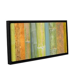 "ArtWall Cora Niele's Bamboo Gallery Wrapped Floater Framed Canvas - Green/Orange - 12"" X 24"""