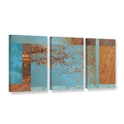 "ArtWall Cora Niele's Collage 3 Piece Gallery Wrapped Canvas Set, 18 by 36"", Blue/Brown"