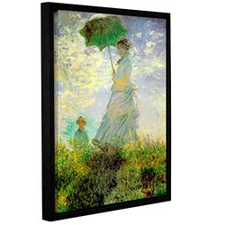"ArtWall Claude Monet's Lady with Umbrella in Field Framed Canvas - 14""X18"""