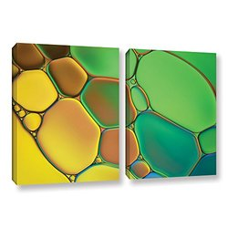 ArtWall Cora Niele's Stained Glass III 2 Piece Gallery Wrapped Canvas Set, 24 by 36""