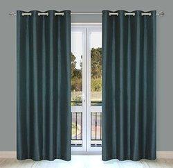 """LJ Home Fashions Silkana Faux Silk Curtain Pair - Blue Slate - 56""""x88"""""""