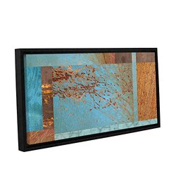 """ArtWall Cora Niele's Collage Gallery Framed Canvas - 12"""" X 24"""" - Blue/Brown"""