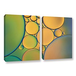 "ArtWall Cora Niele's 2 Piece Gallery Wrapped Canvas Set, 24 by 36"", Orange/Green"