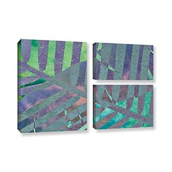 ArtWall Cora Niele's Leaf Shades III 3 Piece Gallery Wrapped Canvas Flag Set, 24 by 36""