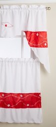 RT Designers Collection Kitchen Curtain, Red Pearl