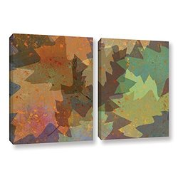 ArtWall Cora Niele's American Oak Leaves 2 Piece Canvas Set - 18 by 28""