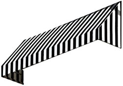 "Awntech 44"" x 24"" 5 ft. New Yorker Stripe Window Awning - Black / White"