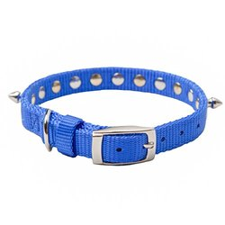 "Oliver & Iris Nylon Dog Collar, Spiked, Blue, 1"" Width, 26"" Length"