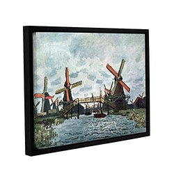 """Claude Monet's Windmills Gallery Wrapped Floater Framed Canvas - 18x24"""""""
