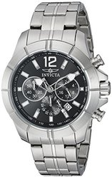 Mens Chronograph Watch: INVICTA-21462/Silver Band-Black Dial