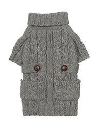 "Fab Dog Chunky Turtleneck Dog Sweater, Heather Grey, 10"" Length"