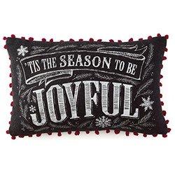 "Hallmark ""Joyful"" Rectangular Embellished Decorative Accent Pillow"