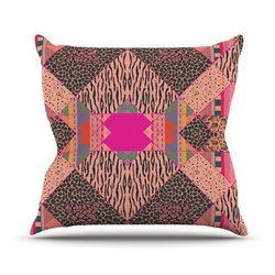"Kess InHouse Vasare Nar ""New Wave Zebra"" Pattern Pink Outdoor Throw Pillow, 26 by 26-Inch"