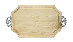 "BigWood Boards 300-CL-Y Cutting Board with Handles, Monogrammed Wedding Gift Cutting Board, Small Cheese Board, Maple Wood Serving Tray, ""Y"""