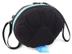 PoopPac Dog Walker Waste Case - Black with Sky Blue Zipper