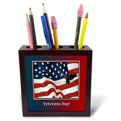 """ph_212758_1 Eagle Landing on U.S Flag, Veterans Day Tile Pen Holder, 5"""""""