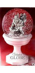 Water Snow Globe With White Base - Silver Santa Going Down the Chimney