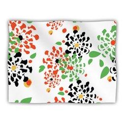 """Kess InHouse Sonal Nathwani """"Multi Bouquet"""" Orange Green Pet Blanket, 60 by 50-Inch"""
