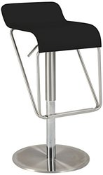 Chintaly Adjustable Height Swivel Bar Stool with Cushion - Black