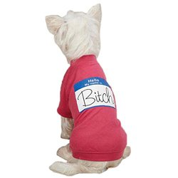 "Casual Canine ""Hello My Name Is"" Tee for Pets, Large, Raspberry"