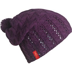 FU-R Headwear Women's Kalinda Lightweight Slouchy Pom Hat, Purple, One Size