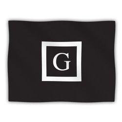 "Kess InHouse KESS Original ""Monogram Solid Black Letter G"" Fleece Blanket, 60 by 50-Inch"