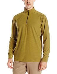 White Sierra Men's Ridge Stripe Quarter Zip Hoodie, Dark Sage, Medium