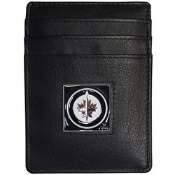 Siskiyou NHL Winnipeg Jets Leather Money Clip/Cardholder - Black