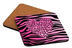 "Rikki Knight ""Tropical Pink Leopard Heart on Zebra Background Design"" Square Beer Coasters"