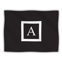 "Kess InHouse KESS Original ""Monogram Solid Black Letter A"" Fleece Blanket, 60 by 50-Inch"