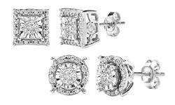 Sfmny 1/4CTTW Diamond Stud Earrings in Sterling Silver - Round