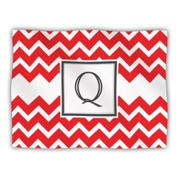 "Kess InHouse KESS Original ""Monogram Chevron Red Letter Q"" Fleece Blanket, 60 by 50-Inch"