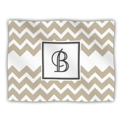 "Kess InHouse KESS Original ""Monogram Chevron Tan Letter B"" Fleece Blanket, 60 by 50-Inch"