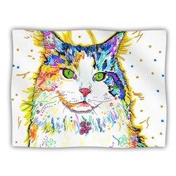 "Kess InHouse Rebecca Fischer ""Royal"" Rainbow Cat Fleece Blanket, 60 by 50-Inch"