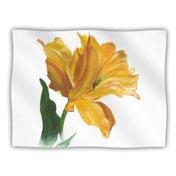 "Kess InHouse Lydia Martin ""Yellow Tulip"" Fleece Blanket, 60 by 50-Inch"