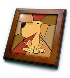 "8""x8"" Funny Yellow Labrador Retriever Framed Ceramic Tile"
