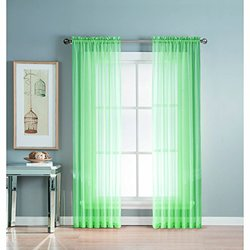 Window Elements Diamond Sheer Voile Extra Wide Rod Pocket Curtain Panel, 56 x 90-Inch, Aqua