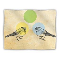 """Kess InHouse Sreetama Ray """"Green"""" Paper Birds Fleece Blanket, 60 by 50-Inch"""