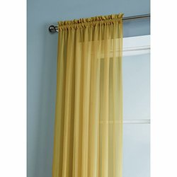 Window Elements Diamond Sheer Voile Extra Wide Rod Pocket Curtain Panel, 56 x 95-Inch, Gold