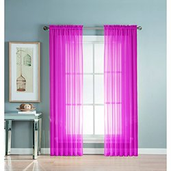 Window Elements Diamond Sheer Voile Extra Wide Rod Pocket Curtain Panel, 56 x 63-Inch, Hot Pink