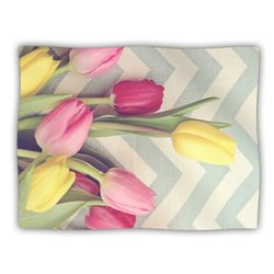 "Kess InHouse Catherine McDonald ""Tulips and Chevrons"" Blanket, 60 by 50-Inch"