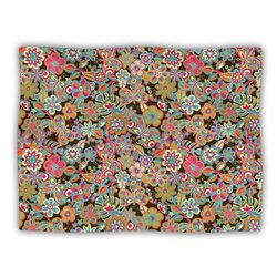 "Kess InHouse Julia Grifol ""My Butterflies and Flowers in Brown Rainbow Floral"" Blanket, 60 by 50-Inch"