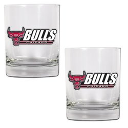 NBA Chicago Bulls Two Piece Rocks Glass Set