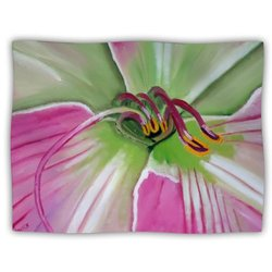 """Kess InHouse Cathy Rodgers """"Pink and Green Flower"""" Blanket, 60 by 50-Inch"""