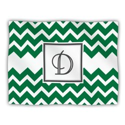 "Kess InHouse KESS Original ""Monogram Chevron Green Letter D"" Fleece Blanket, 60 by 50-Inch"