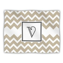 """Kess InHouse KESS Original """"Monogram Chevron Tan Letter V"""" Fleece Blanket, 60 by 50-Inch"""
