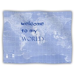 "Kess InHouse Catherine Holcombe ""Welcome to My World Quote Indigo"" Blanket, 60 by 50-Inch"